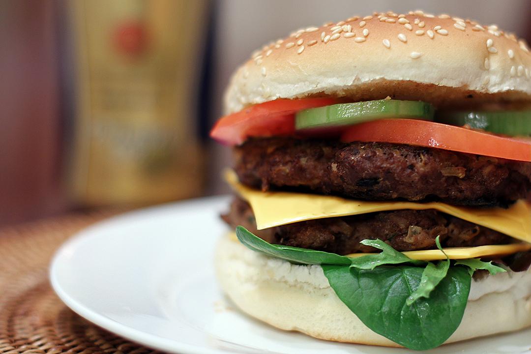 "Double Cheese Mushroom Burger - Ang Sarap (A Tagalog word for ""It's ..."