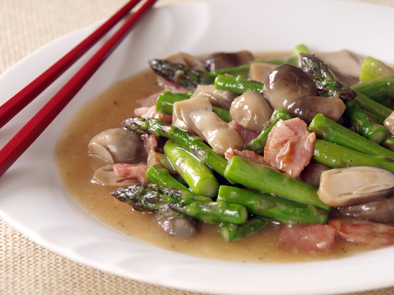 Asparagus, Ham and Mushroom Stir Fry - Ang Sarap (A Tagalog word for ...