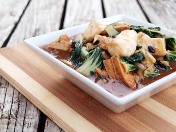 Fish and Pak Choy in Black Bean Sauce
