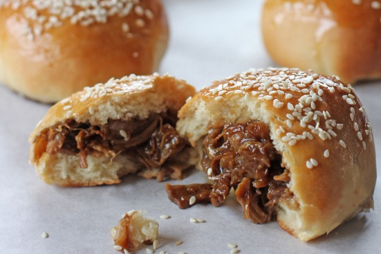 Baked Pork Buns Inside Wide