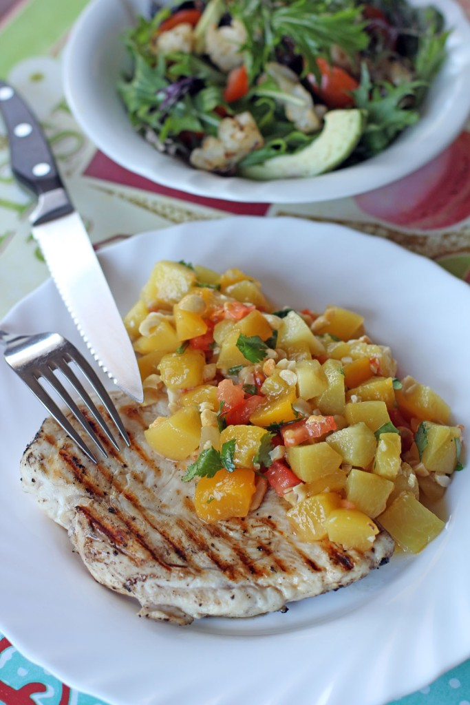 Grilled Chicken and Peach Mango Salsa