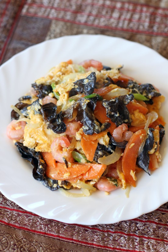 Fried Egg with Black Fungus and Shrimps