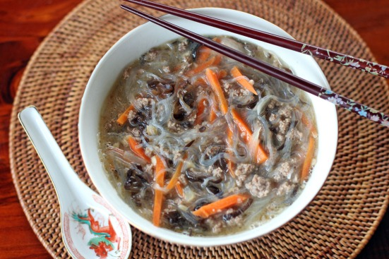 Glass Noodles Soup with Minced Beef - Ang Sarap