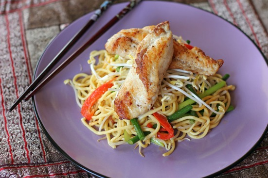 Pan Seared Monk Fish in Stir Fried Laksa Noodles Wide
