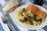 Pan Seared Salmon with Morel Mushrooms and Asparagus Bowtie